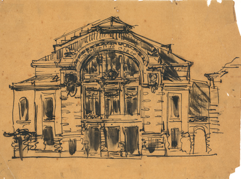 José Marques da Silva, Study for the Theatre in Braga, [1908]
